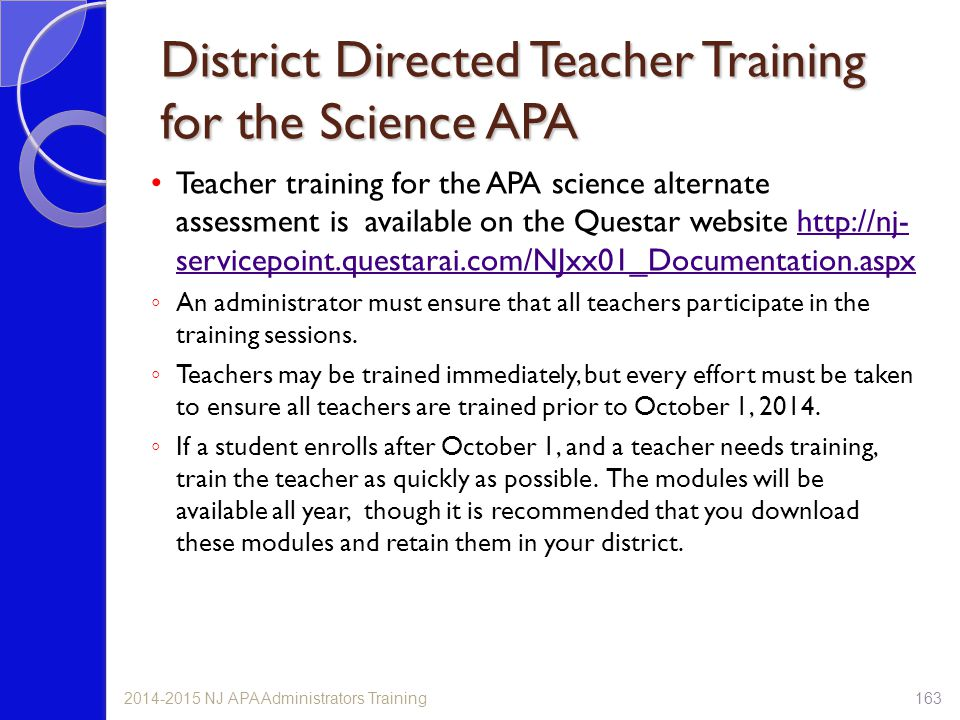 District Directed Teacher Training for the Science APA