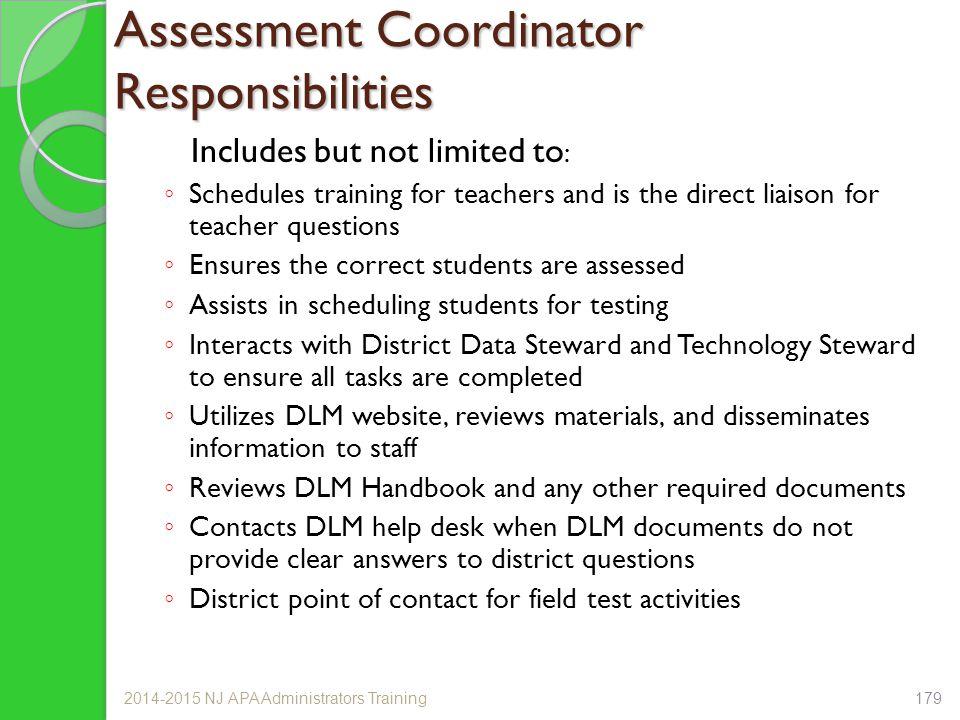 Assessment Coordinator Responsibilities
