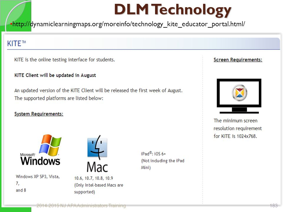 DLM Technology http://dynamiclearningmaps.org/moreinfo/technology_kite_educator_portal.html/ 2014-2015 NJ APA Administrators Training.