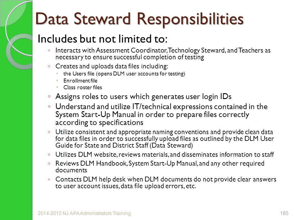 Data Steward Responsibilities