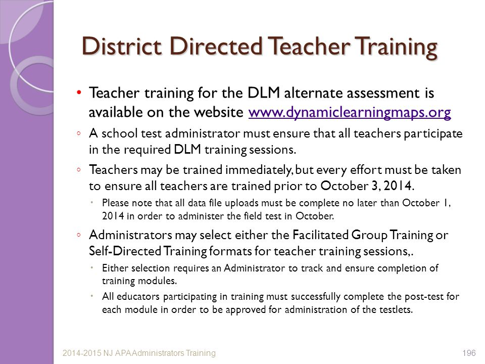 District Directed Teacher Training
