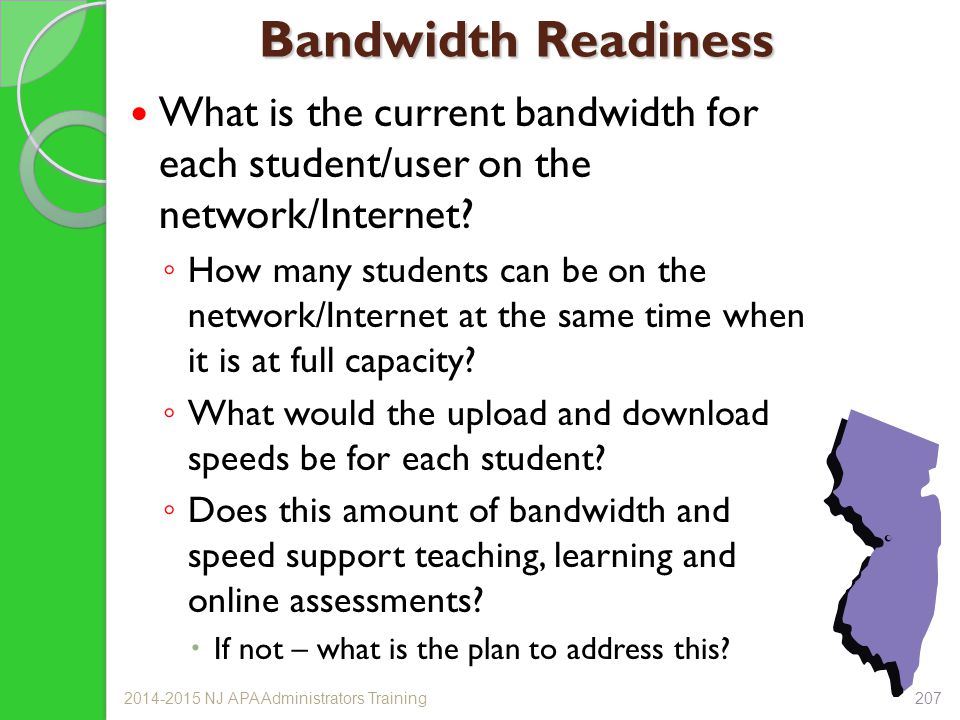 Bandwidth Readiness What is the current bandwidth for each student/user on the network/Internet