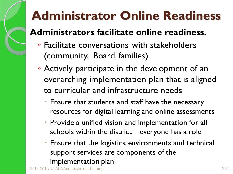 Administrator Online Readiness