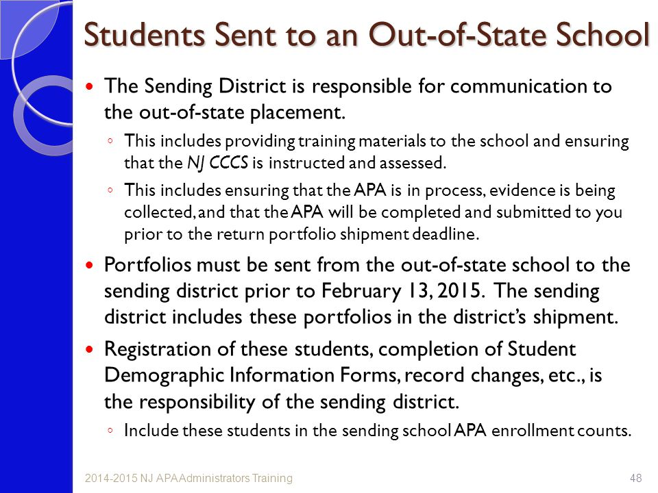 Students Sent to an Out-of-State School