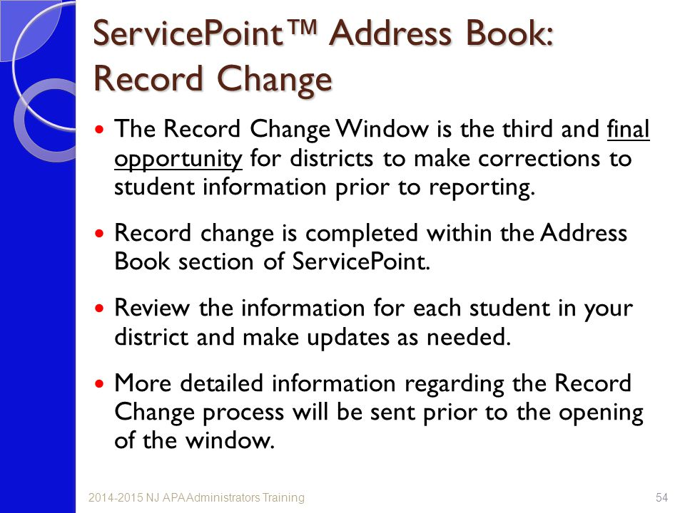 ServicePoint™ Address Book: Record Change