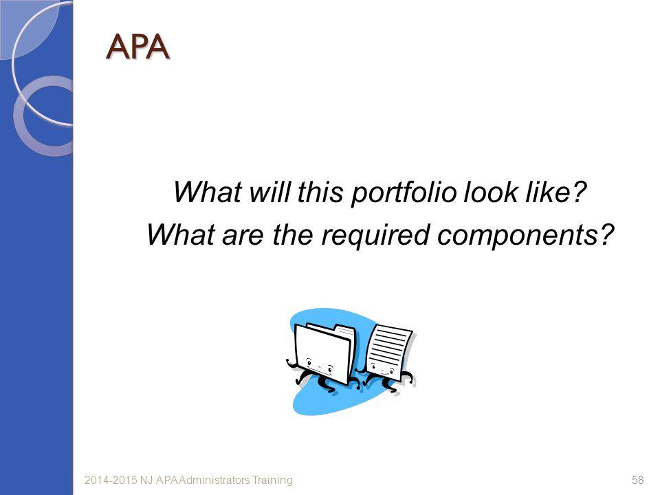 APA What will this portfolio look like