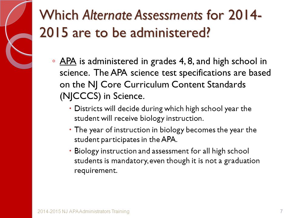 Which Alternate Assessments for 2014-2015 are to be administered