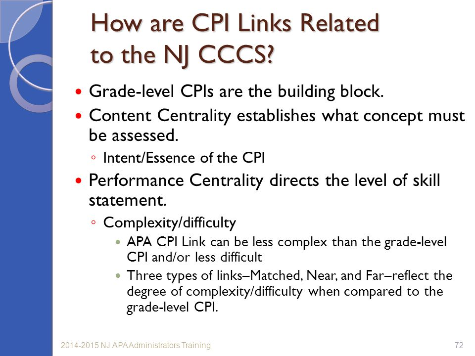 How are CPI Links Related to the NJ CCCS