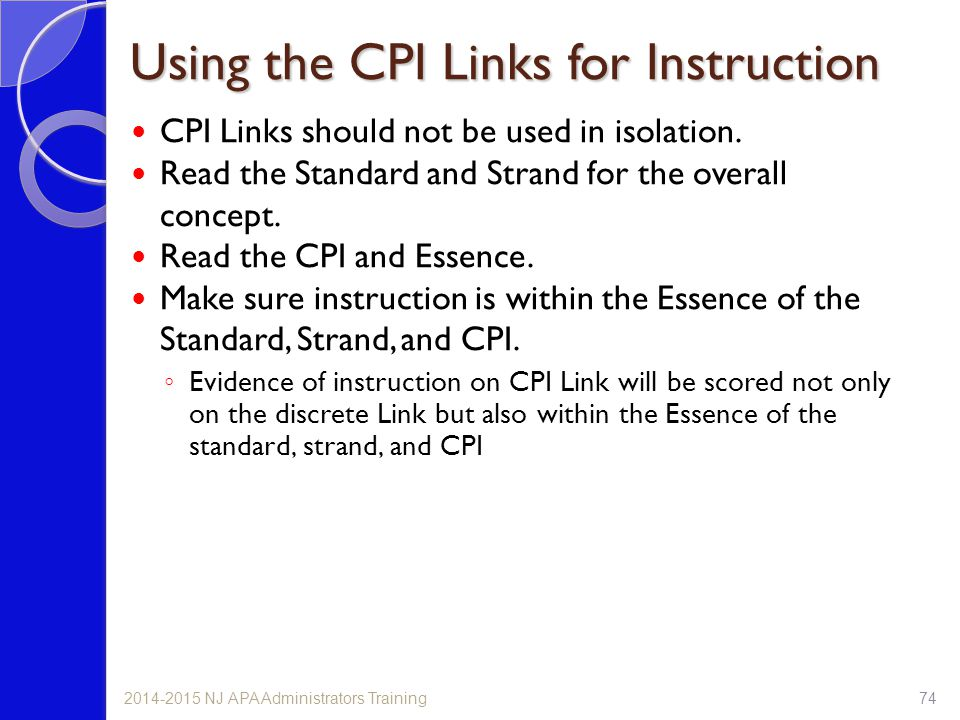 Using the CPI Links for Instruction
