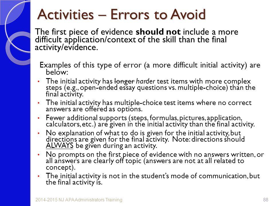 Activities – Errors to Avoid