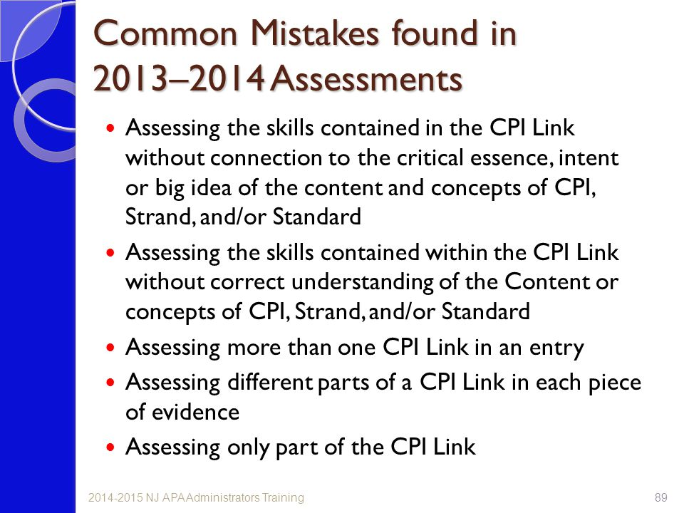 Common Mistakes found in 2013–2014 Assessments