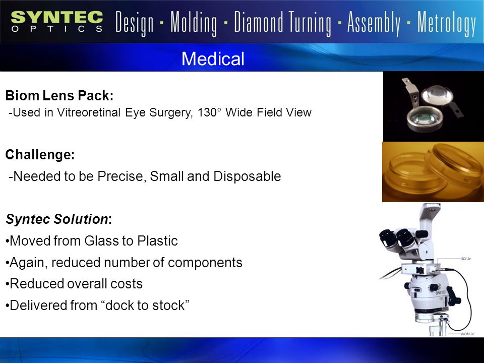 Syntec Markets Medical. Biom Lens Pack: -Used in Vitreoretinal Eye Surgery, 130° Wide Field View.