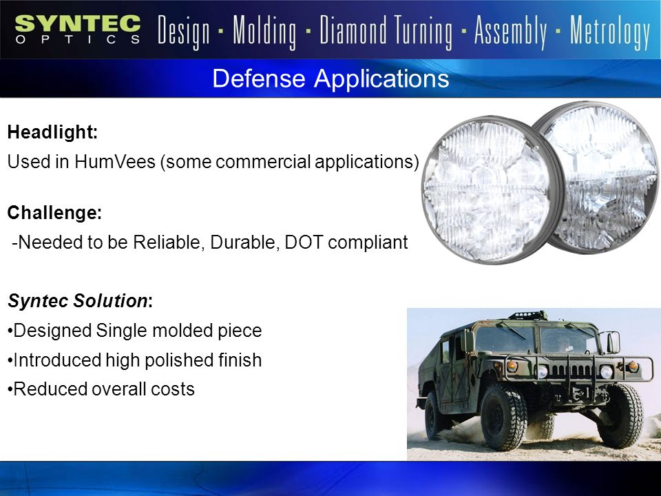 Defense Applications Headlight: