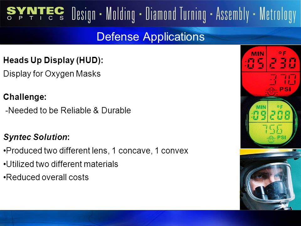 Defense Applications Heads Up Display (HUD): Display for Oxygen Masks