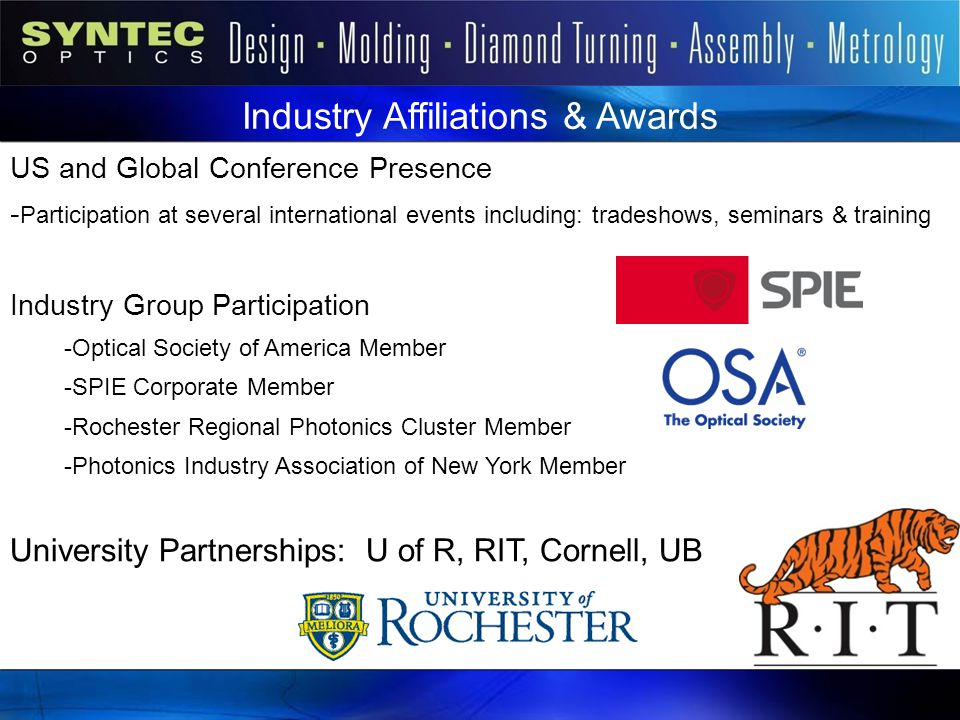 Industry Affiliations & Awards