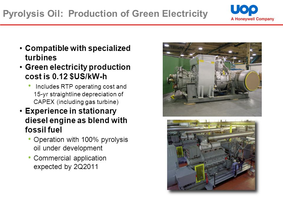 Pyrolysis Oil: Production of Green Electricity