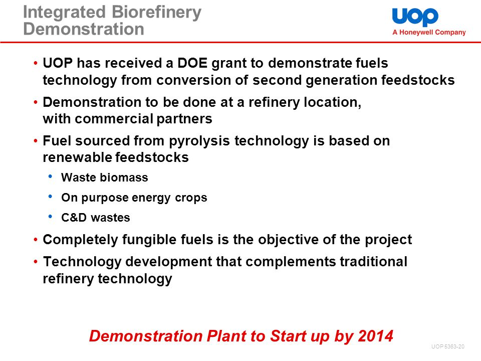 Integrated Biorefinery Demonstration