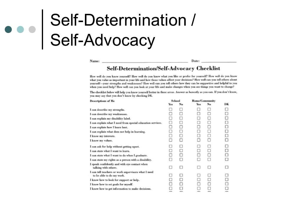 Self-Determination / Self-Advocacy