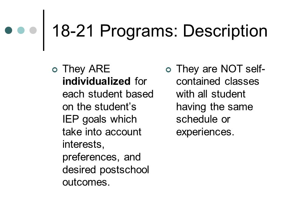 18-21 Programs: Description