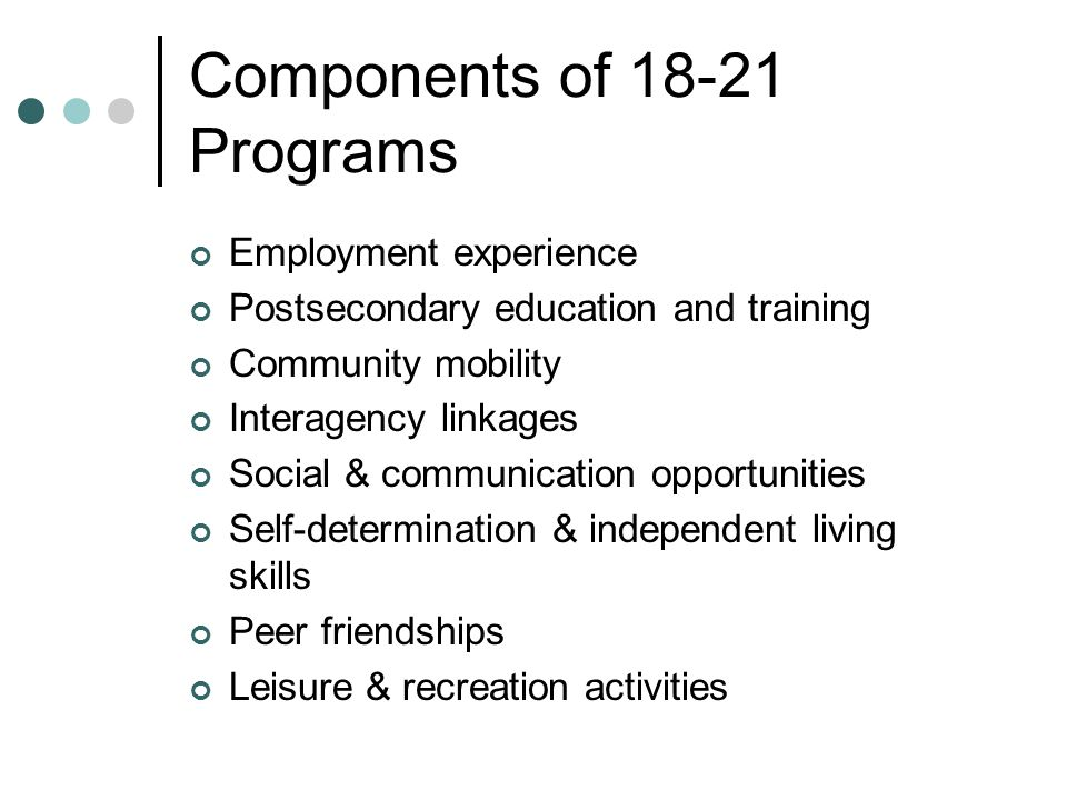 Components of 18-21 Programs