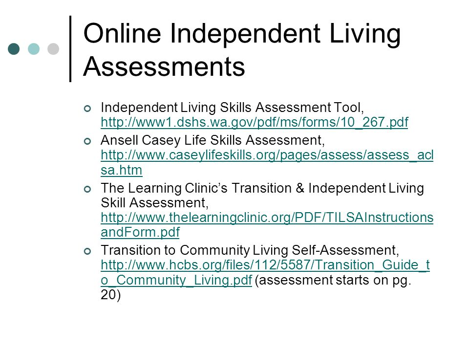 Online Independent Living Assessments