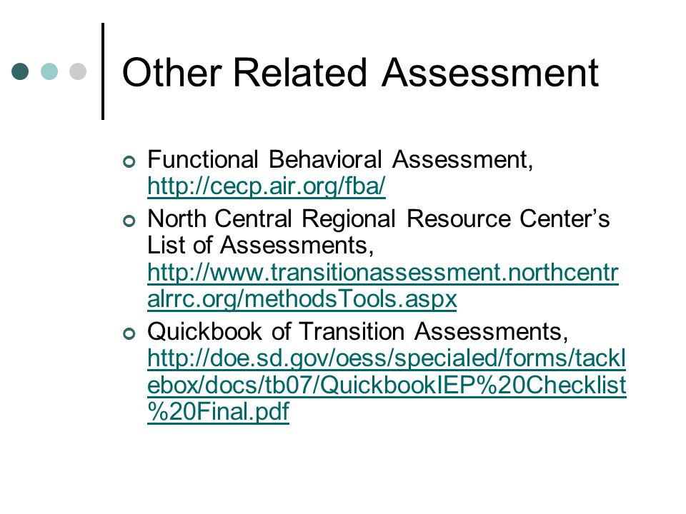 Other Related Assessment
