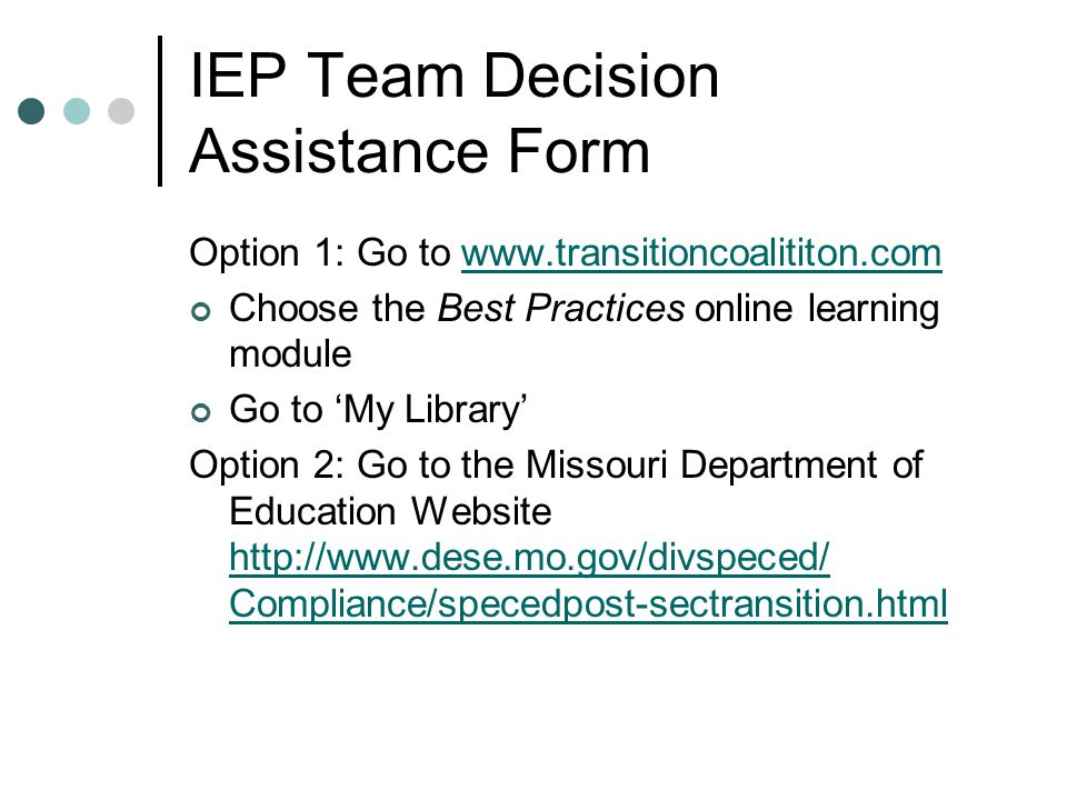 IEP Team Decision Assistance Form