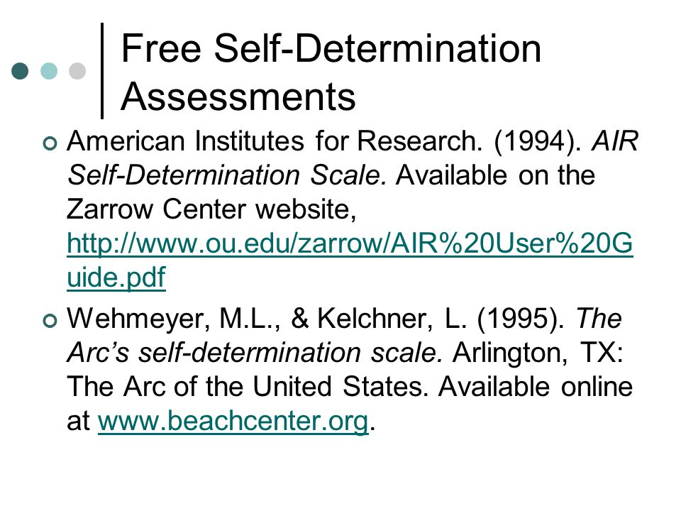 Free Self-Determination Assessments