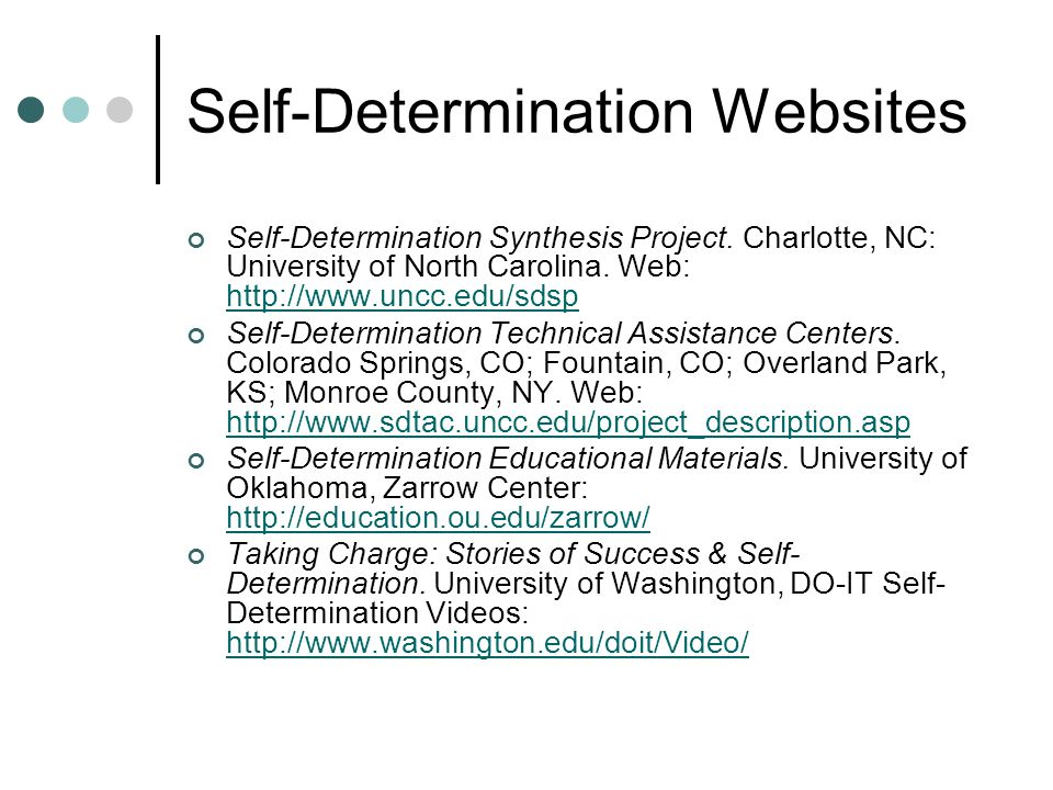 Self-Determination Websites