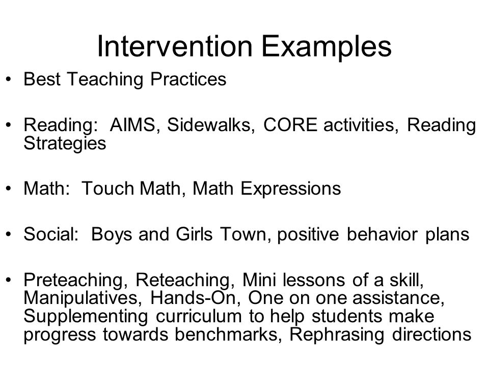 Intervention Examples