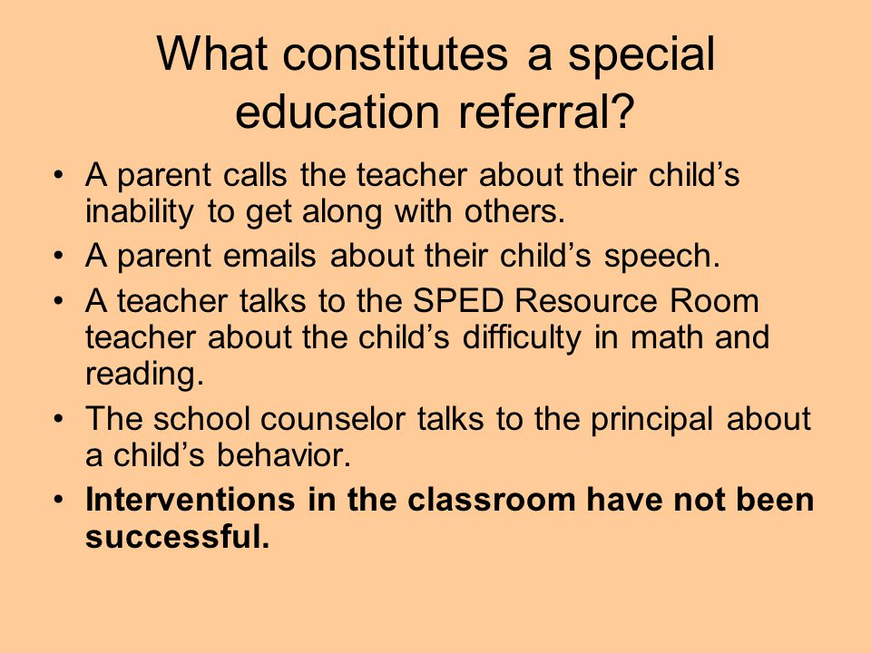 What constitutes a special education referral