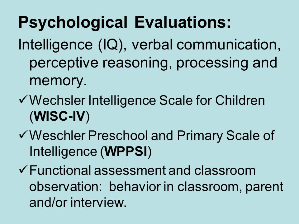 Psychological Evaluations: