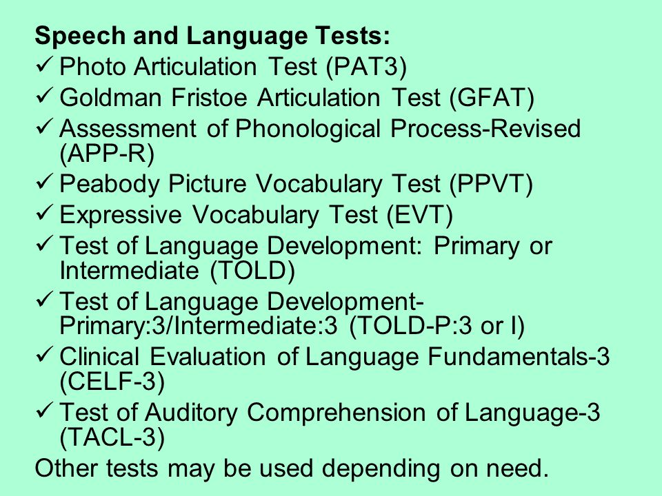 Speech and Language Tests: