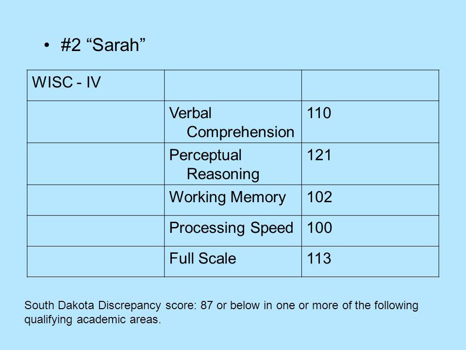 #2 Sarah WISC - IV Verbal Comprehension 110 Perceptual Reasoning 121