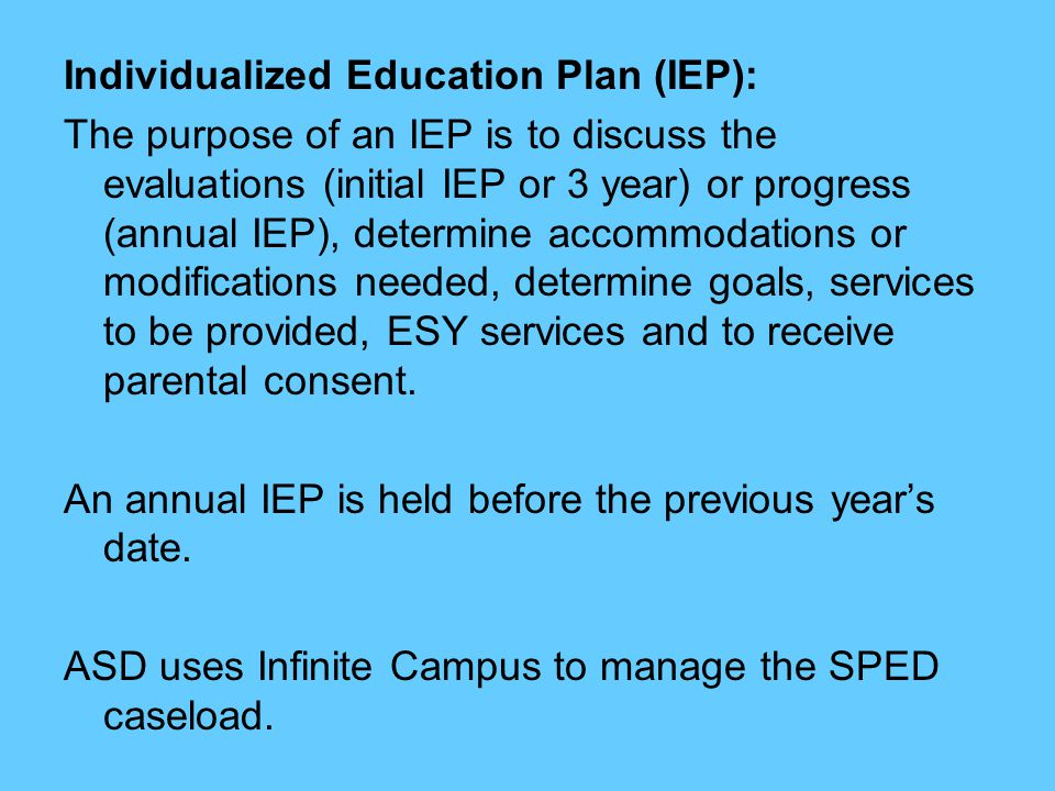 Individualized Education Plan (IEP):
