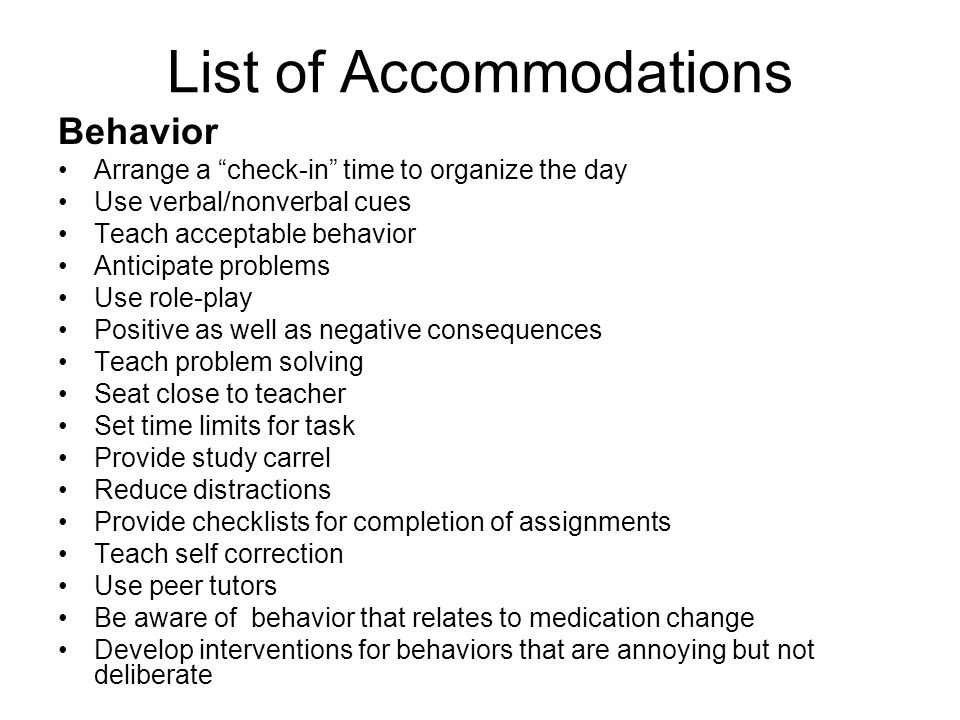 List of Accommodations