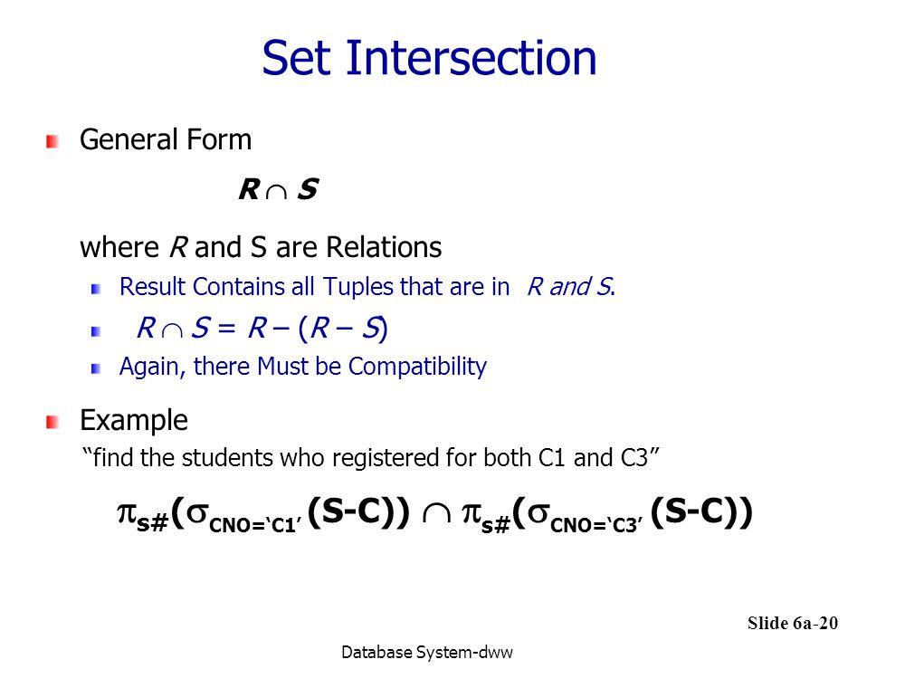 Set Intersection s#(CNO='C1' (S-C)) s#(CNO='C3' (S-C))