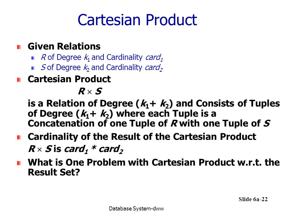Cartesian Product Given Relations Cartesian Product R  S