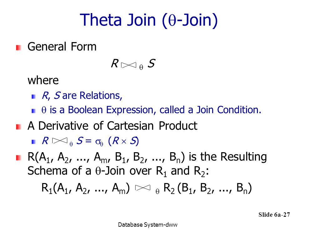 Theta Join (-Join) General Form R  S where