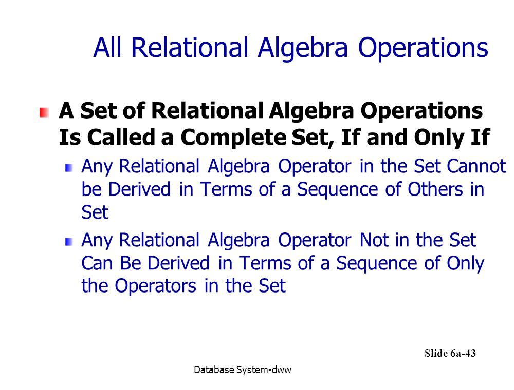 All Relational Algebra Operations