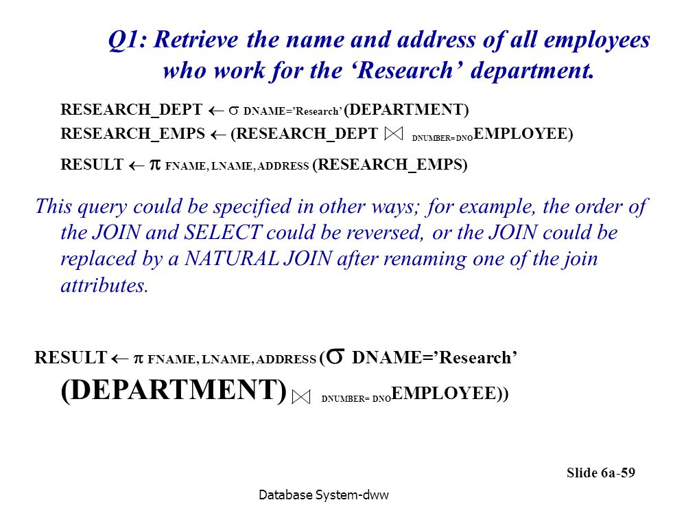 Q1: Retrieve the name and address of all employees who work for the 'Research' department.