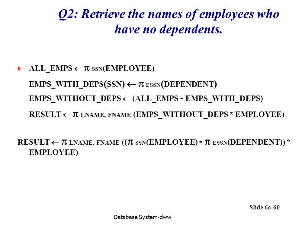 Q2: Retrieve the names of employees who have no dependents.
