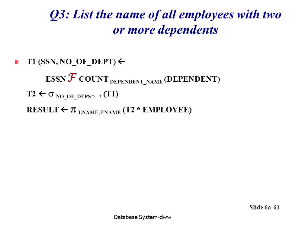 Q3: List the name of all employees with two or more dependents