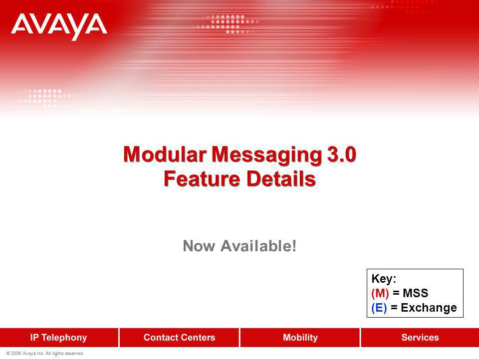 Modular Messaging 3.0 Feature Details