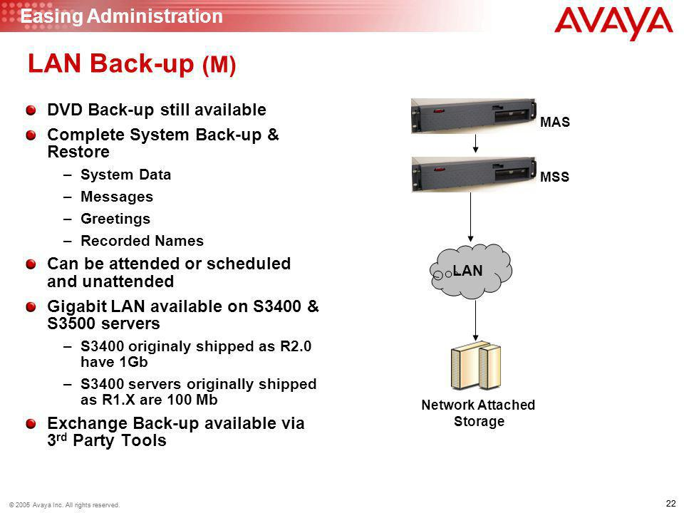 LAN Back-up (M) Easing Administration DVD Back-up still available