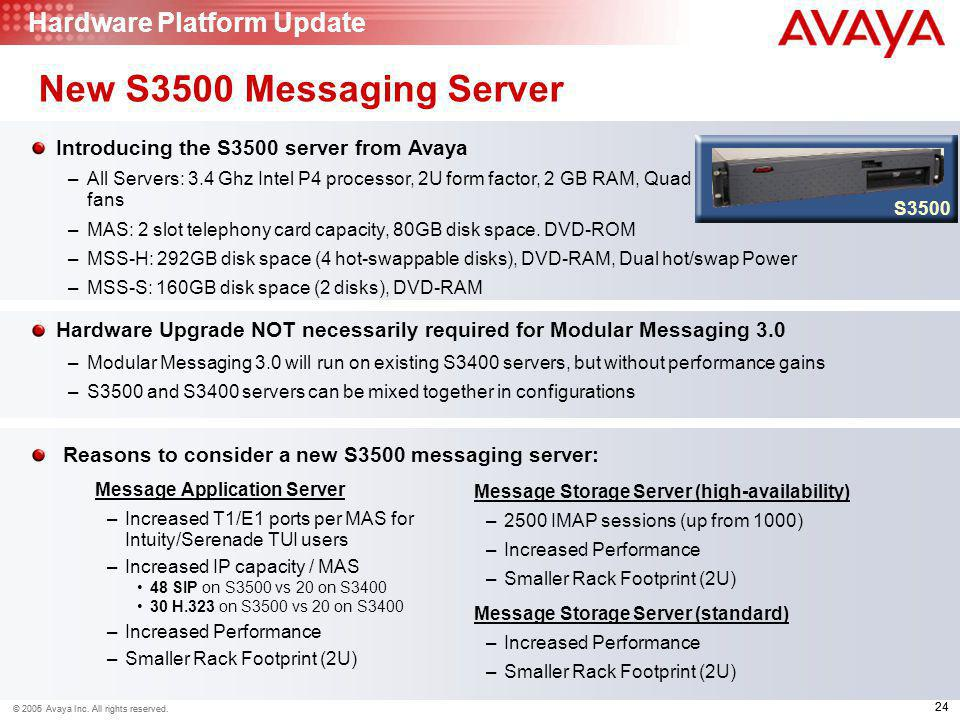 New S3500 Messaging Server Hardware Platform Update