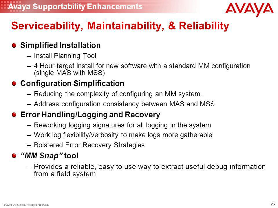 Serviceability, Maintainability, & Reliability