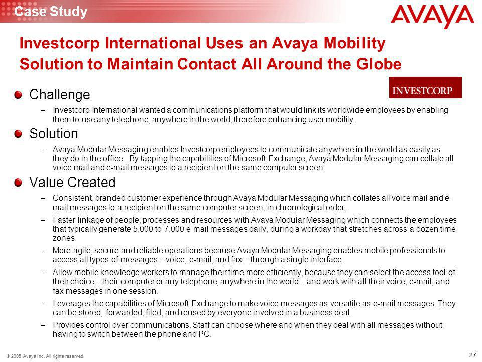 Case Study Investcorp International Uses an Avaya Mobility Solution to Maintain Contact All Around the Globe.
