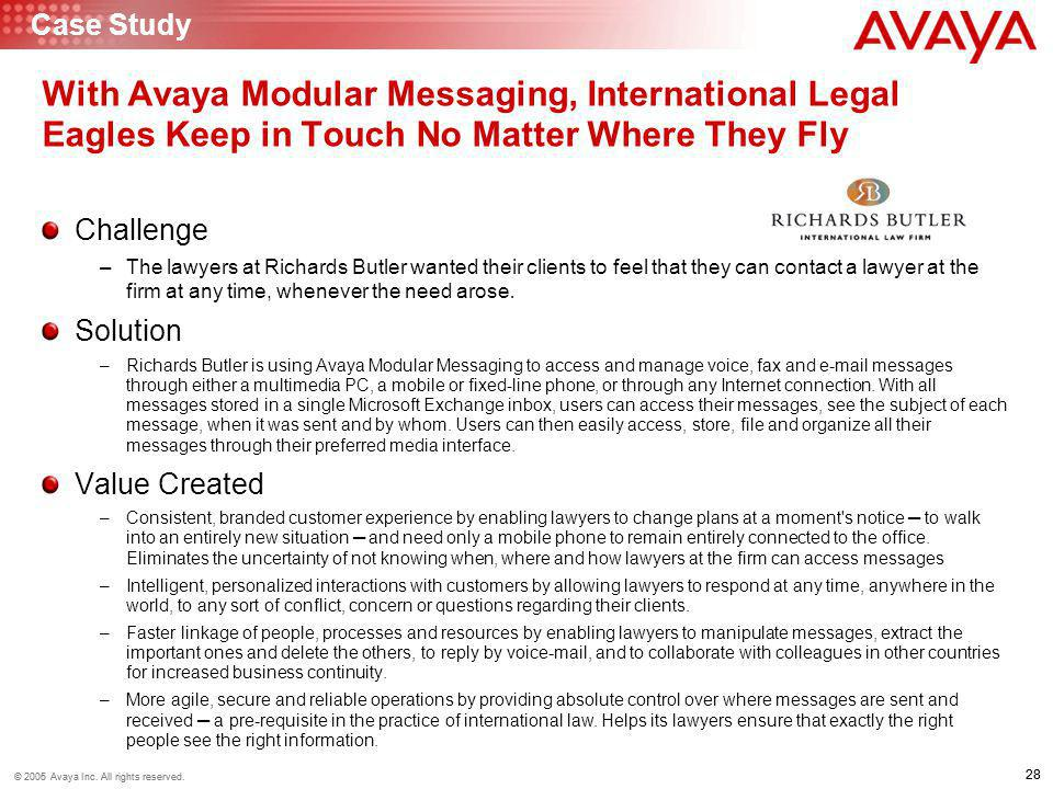 Case Study With Avaya Modular Messaging, International Legal Eagles Keep in Touch No Matter Where They Fly.