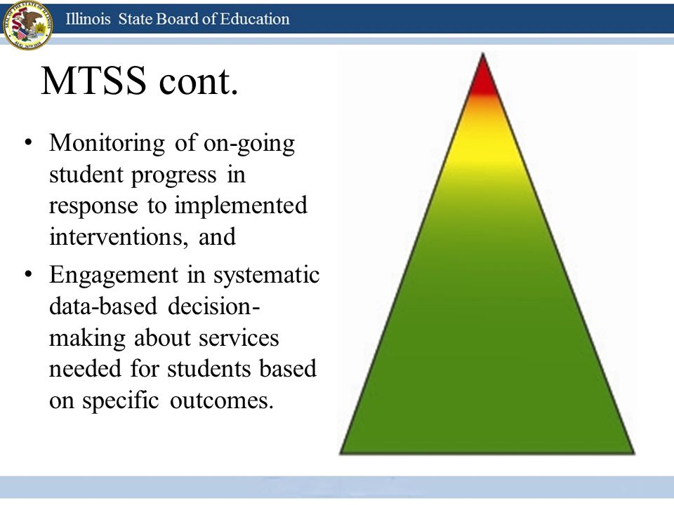 MTSS cont. Monitoring of on-going student progress in response to implemented interventions, and.